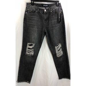 Ashley Mason Jeans - Ashley Mason Lace lined distress Kendal jeans 6715